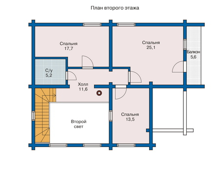 Планировка второго этажа :: Проект деревянного дома 10-81