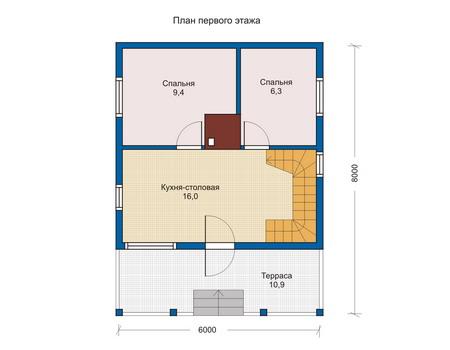 Планировка первого этажа :: Проект деревянного дома 10-82