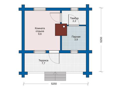 Планировка первого этажа :: Проект деревянного дома 10-84