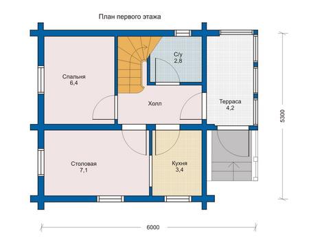 Планировка первого этажа :: Проект деревянного дома 10-85