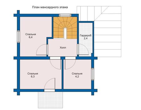 Планировка мансардного этажа :: Проект деревянного дома 10-85