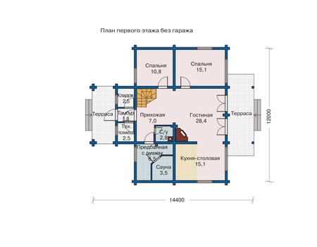 Планировка первого этажа :: Проект деревянного дома 10-99