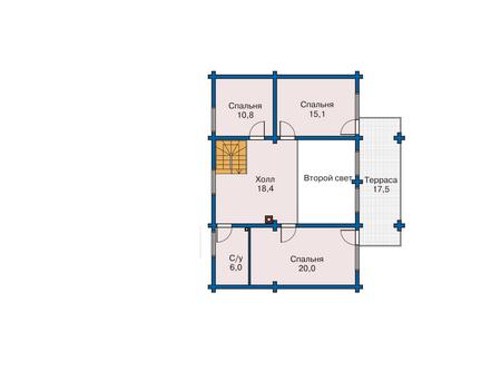 Планировка мансардного этажа :: Проект деревянного дома 10-99