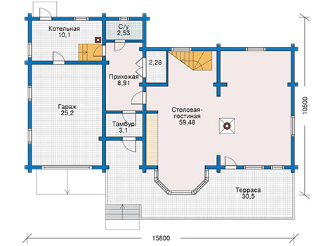 Планировка первого этажа :: Проект деревянного дома 11-09