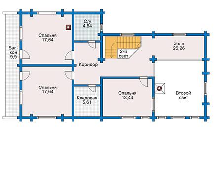 Планировка мансардного этажа :: Проект деревянного дома 11-09