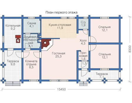 Планировка первого этажа :: Проект деревянного дома 11-19