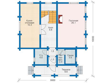 Планировка первого этажа :: Проект деревянного дома 11-24