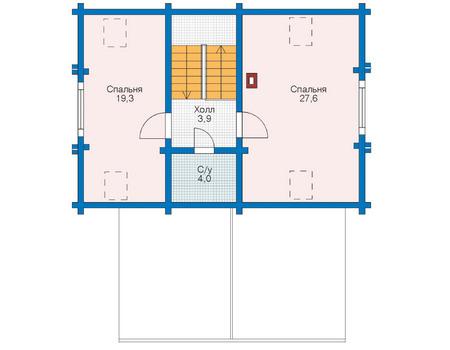 Планировка мансардного этажа :: Проект деревянного дома 11-24