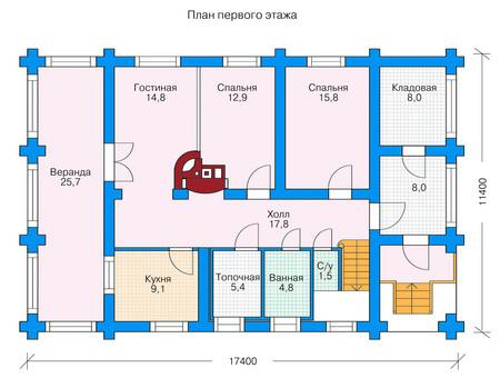 Планировка первого этажа :: Проект деревянного дома 11-31