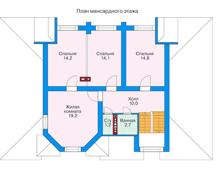 Планировка мансардного этажа :: Проект деревянного дома 11-31