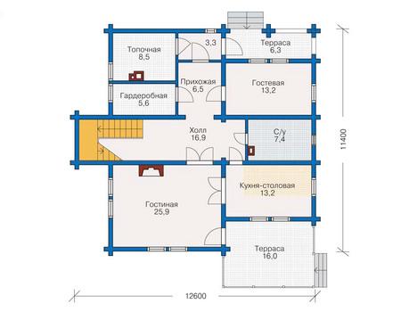Планировка первого этажа :: Проект деревянного дома 11-41