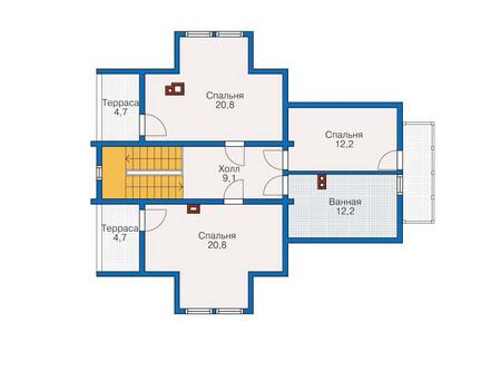 Планировка мансардного этажа :: Проект деревянного дома 11-41