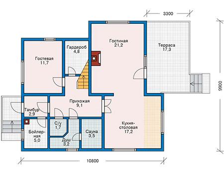 Планировка первого этажа :: Проект деревянного дома 11-44