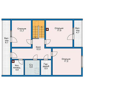 Планировка мансардного этажа :: Проект деревянного дома 11-44