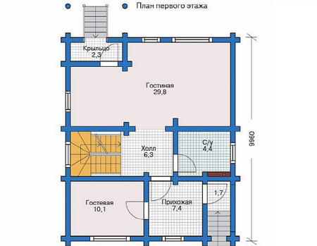 Планировка первого этажа :: Проект деревянного дома 11-50