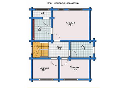 Планировка мансардного этажа :: Проект деревянного дома 11-50
