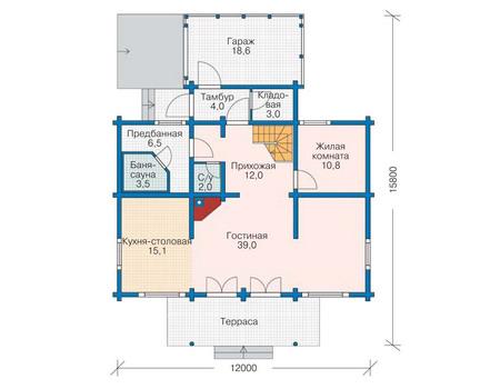 Планировка первого этажа :: Проект деревянного дома 11-52