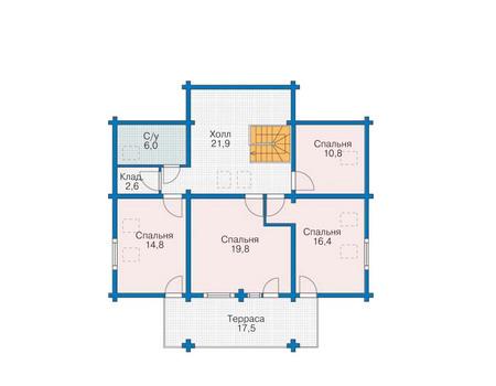 Планировка мансардного этажа :: Проект деревянного дома 11-52