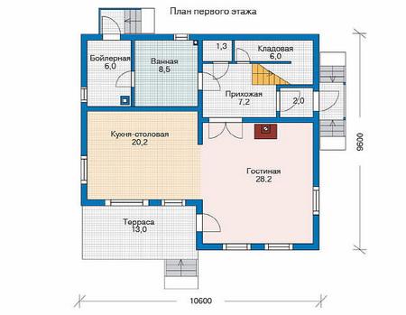 Планировка первого этажа :: Проект деревянного дома 11-56