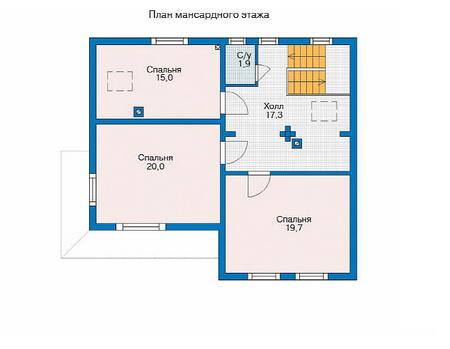 Планировка мансардного этажа :: Проект деревянного дома 11-56