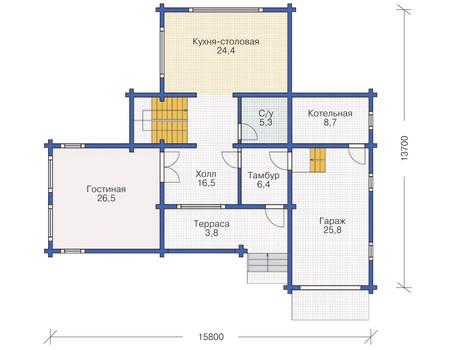 Планировка первого этажа :: Проект деревянного дома 11-74