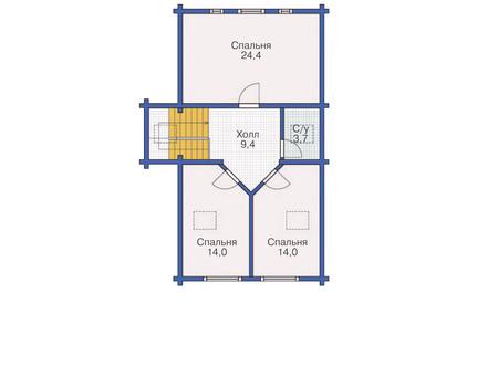 Планировка мансардного этажа :: Проект деревянного дома 11-74