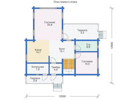 Планировка первого этажа :: Проект деревянного дома 11-78