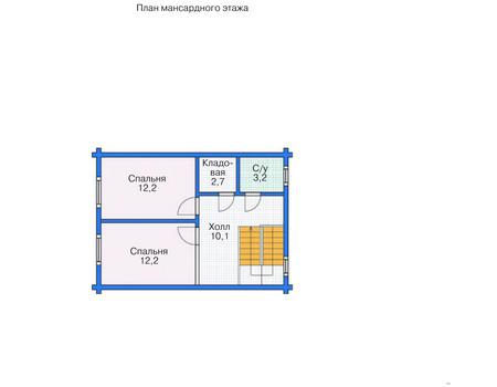 Планировка мансардного этажа :: Проект деревянного дома 11-78