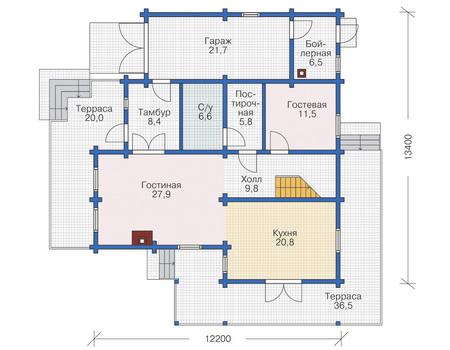 Планировка первого этажа :: Проект деревянного дома 11-84