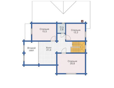 Планировка мансардного этажа :: Проект деревянного дома 11-84