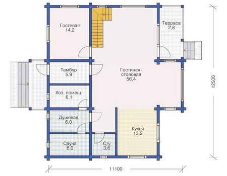 Планировка первого этажа :: Проект деревянного дома 11-85