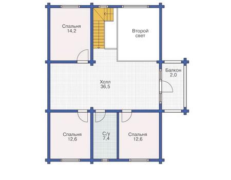 Планировка мансардного этажа :: Проект деревянного дома 11-85