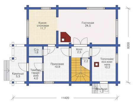 Планировка первого этажа :: Проект деревянного дома 11-87