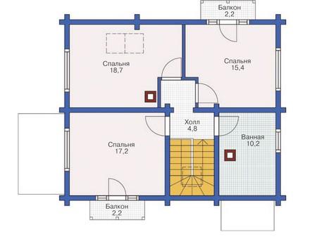 Планировка мансардного этажа :: Проект деревянного дома 11-87
