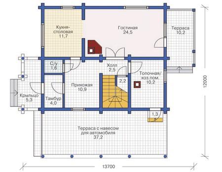 Планировка первого этажа :: Проект деревянного дома 11-90