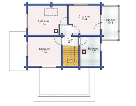 Планировка мансардного этажа :: Проект деревянного дома 11-90