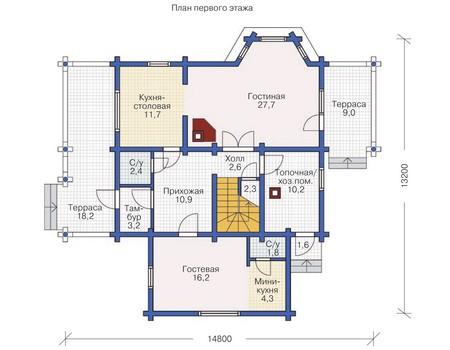 Планировка первого этажа :: Проект деревянного дома 11-91