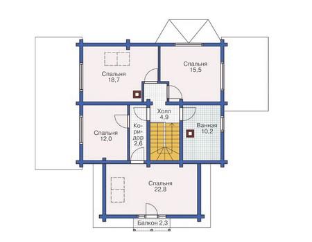 Планировка мансардного этажа :: Проект деревянного дома 11-91