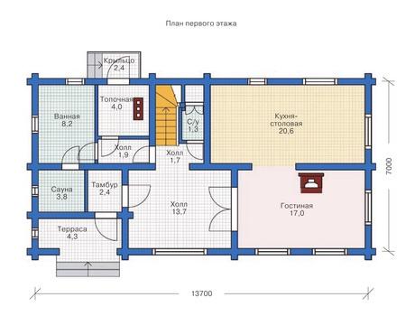 Планировка первого этажа :: Проект деревянного дома 11-92