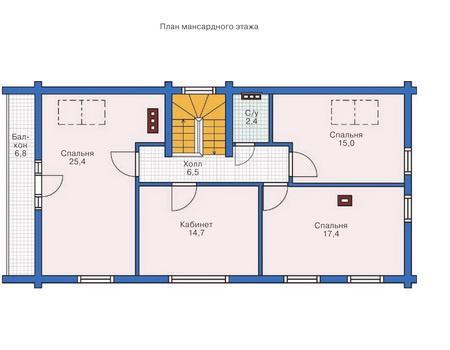 Планировка мансардного этажа :: Проект деревянного дома 11-92