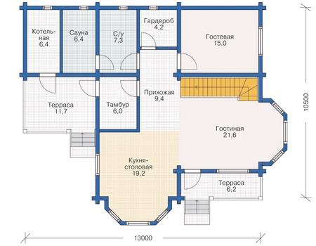 Планировка первого этажа :: Проект деревянного дома 11-98