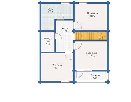 Планировка мансардного этажа :: Проект деревянного дома 11-98