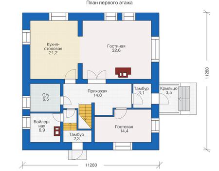 Планировка первого этажа :: Проект деревянного дома 12-00