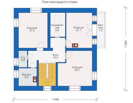 Планировка мансардного этажа :: Проект деревянного дома 12-00