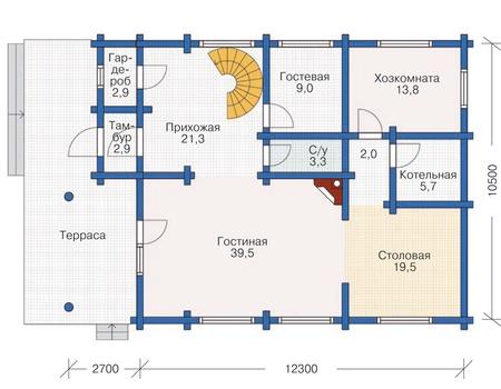 Планировка первого этажа :: Проект деревянного дома 12-01