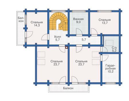 Планировка второго этажа :: Проект деревянного дома 12-01