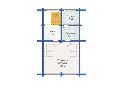 Планировка мансардного этажа :: Проект деревянного дома 12-01