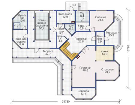 Планировка первого этажа :: Проект деревянного дома 12-06