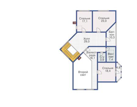 Планировка мансардного этажа :: Проект деревянного дома 12-06