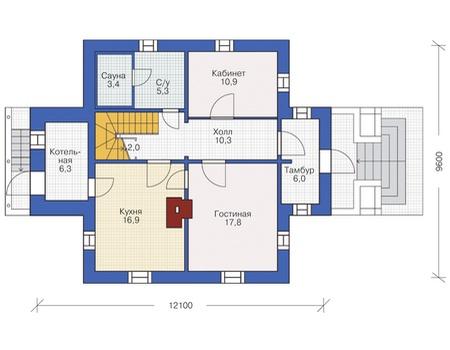 Планировка первого этажа :: Проект деревянного дома 12-16